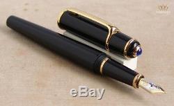 Cartier Diabolo St180004 Composite Noir Avec Bordure En Plaqué Or Stylo-plume De Nice