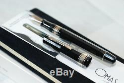 Fountain Pen Omas 557-s Noir 8371f / P Nib Taille F Vintage