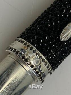 Krone Noir Stingray. 925 Fountain Pen Black Diamonds Ltd. Edition En Or 18 Carats Nib