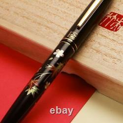 Kuretake Noir Urushi Makie Sakura-ni-momiji Or Iridium M Nib Fountain Pen