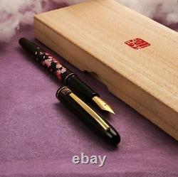 Kuretake Noir Urushi Makie Sakuraharukaze Or Iridium M Nib Fountain Pen
