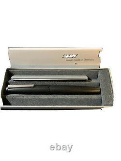Lamy 2000 Fountain Pen Platinum Coated 14 Ct Or Fine Noir L01f