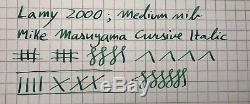 Lamy 2000 Medium Masuyama Cursiv Italique 14k Or Nib Noir Makrolon Fountain Pen
