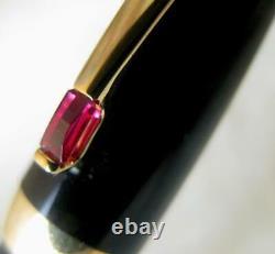 Magnifique Montblanc Boheme Noir & Or Rétractable 18 Carats Nib Fp Red Stone