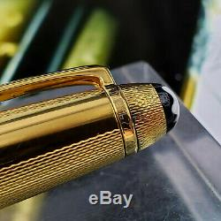 Montblanc Meisterstuck 144 Gold Solitaire Vermeil Plume 18k M Nib 925