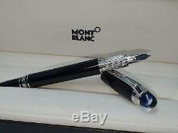 Montblanc Stylo Starwalker 118845 Fontaine M Plume Moyenne Résine Noire Blue Cap Nouveau
