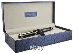 Montegrappa Nerouno Grande Black Resin Fountain Pen, Broad Nib, New In Box