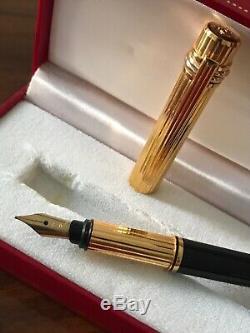 New Vintage Must De Cartier Stylo Plume Laque Noire Et Or Plaqué Très Rare