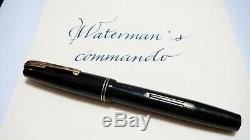 Nib Rare! Waterman Commando, Noir, Semi Flex, Italique, 14k 3b Nib, USA