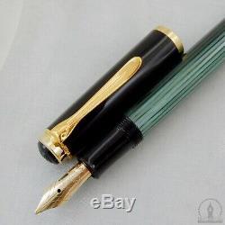 Nos Monnaie Old Style Pelikan M400 Vert Striée Fountain Pen 14c M Nib