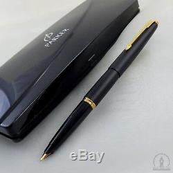 Nos Rarissime Parker 45 Tx Matte Black Gt Fountain Pen F Nib Uk Q1 1994