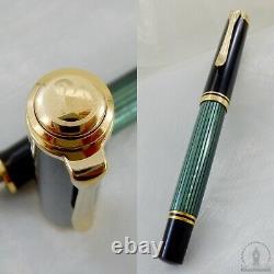 Nouveau In Box Pelikan Souveran M400 Green Striated Fountain Pen 14c Medium Nib