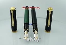 Nouveau Logo Noir Vert Pelikan M1000 Fountain Pen 18k Or Nib Nice