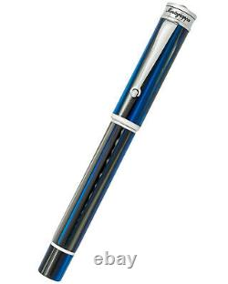 Nouveau Montegrappa Ducale Murano Black & Navy Resin & Steel M Fountain Pen R$340