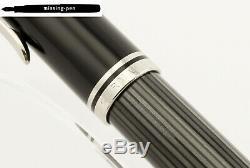 Nouveau Pelikan M1005 Piston Fountain Pen Stresemann En Noir Anthracite 18k F-nib