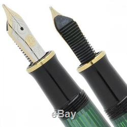 Nouveau Pelikan Souverän M400 Vert Noir Stylo-plume En Or 14k Nib Ef, F, M Rhodium