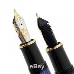 Nouveau Pelikan Souveran M800 Stylo Plume Bleu Noir Or Pointe En Nylon Ef, F, M, B, Bb