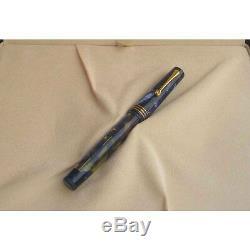 Omas Lucens Blue Fountain Pen X Pt Fine Or 18 Carats X Pt Fine Neuf Dans La Boîte 062/500
