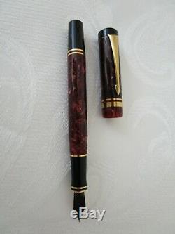 Parker Duofold Bourgogne Marbre Noir Stylo-plume 18k-750 Or Nib Vintage Xlnt