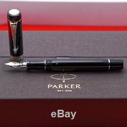 Parker Duofold Centennial Noir / Palldium Stylo Plume, Fine En Or 18 Kt Nib