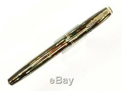 Parker Duofold Rayé Stylo-plume En Vert / Brun / Noir Avec De L'or Nib Et Garnitures