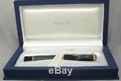 Pelikan M1000 Stripe Vert, Noir Et Or Fountain Pen In Box 18kt Moyen Nib