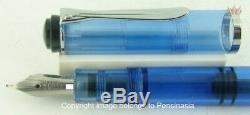 Pelikan Souveran M205 Bleu Stylo Plume Ancien Modèle Noir Anneau Anneau