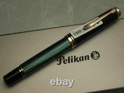 Pelikan Souveran M800 Noir & Vert 18c Fine-nib Flambant Neuf