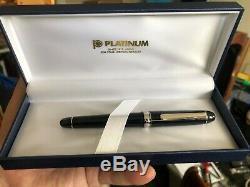 Platinum Fountain Pen # 3776 Century Rhodium Black Diamond Fine Nib