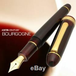 Platinum Nouveau # 3776 Siècle Fontaine Pen Bourgogne Souple Fin Nib-13000 # Pnb 71-0