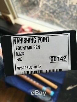 Point De Fuite Pilote Noir Nib 18k Fine Avec Du Rhodium Utilisé Bordure En Peine
