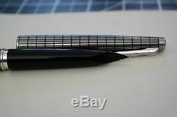 Rare All Quadrillé Elite Fontaine Pen Pilot 18k-750 Noir Argent F