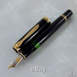Rare Old Style Pelikan M800 Noir Gt Fountain Pen 14c! Om Nib W-allemagne 1988