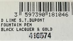 S. T. Dupont Ligne D Fountain Pen, Laque Noire Et Or Accents, 410574, Nib