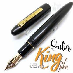 Sailor King De Stylo Noir Ébonite Avec Bordure Dorée - Encre De Stylo Plume 21k
