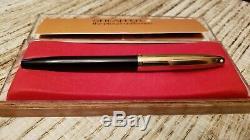 Sheaffer Pfm Pen Pour Les Hommes Fountain Pen Snorkel Noir 12k Or Rempli Cap 14k Nib
