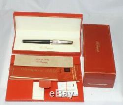 St Dupont XL Olympio Laque Noire Chinoise Et Palladium Fountain Pen Nouveau 5.75