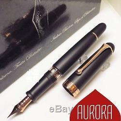 Stylo Plume Aurora 88 Grand Format Noir Mat 14k Or Rose Flex
