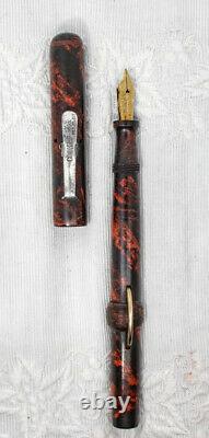 Stylo Plume Conklin, Plume Marbrée En Caoutchouc Dur Rouge/noir Fléchissant