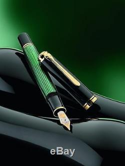 Stylo Plume Pelikan Souveran M1000 Vert Ou Noir Avec Une Pointe En Or 18c / 750