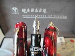 Stylo-plume Mib Moyen Marlen Essence Noir Et Rouge Bordeaux