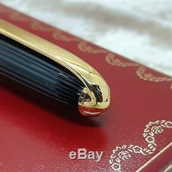 Vintage Authentique Louis Cartier Stylo Plume Godron En Résine Noire 18k Goldnib (nouveau)