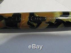 Vintage Chilton Fontaine Pen Marbre Piston Plume En Or 14k Jaune Vieux Noir Rempli