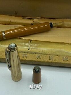 Vintage Parker 51 Stylo Plume Moutarde Yellowstone Double Bijoux Fin De Travail