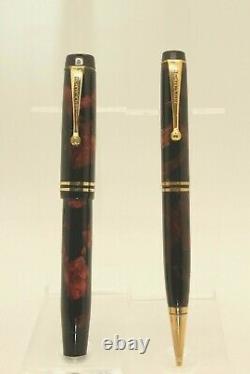 Vintage Parker Duofold Celluloid Fountain Pen&pencil- Nib Flex M À Bb -restauré
