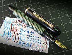 Vintage Pelikan 140 Fountain Pen Green & Black Gt Semi Flex Nib Allemagne