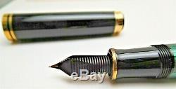 Vintage Pelikan Souveran Fountain Pen Noir Et Vert Bordure Dorée
