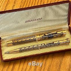 Vintage Wahl Eversharp Lakeside Fountain Pen Crayon Set Or Rempli En Émail Noir