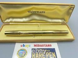Vintage Waterman 100 Ans Stylo De Fontaine 14k Solide Overlay Mint 5.42 Long