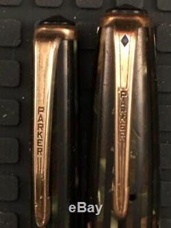 Vtg Parker Blue Diamond Fountain Pen / Crayon Set Duofold Noir, Beige, Bande Grise